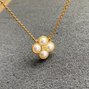 Tory Burch Four Leaf Clover Pearl Simple Necklace